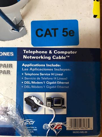 Category 5e telephone/computer networking cable