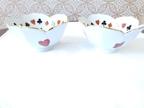 Set of 2 ceramic bridge nut dishes