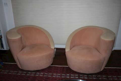 Pair MCM Kagan Weiman Preview Spiral Lounge Chairs