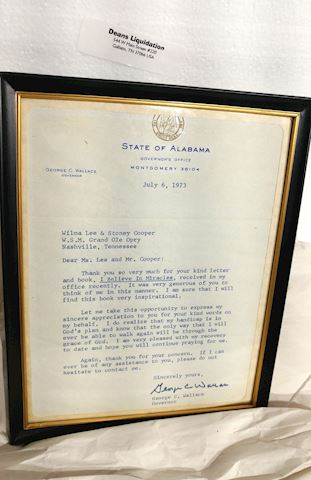 1973 Gov.  Wallace, Alabama Signed Letter