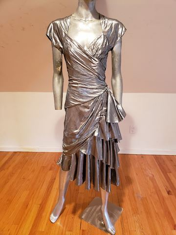 Casadei avant Garde silver lame signed 80's dress