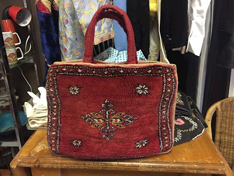 Vintage Carpet Bag Purse Pocketbook Rug Handbag
