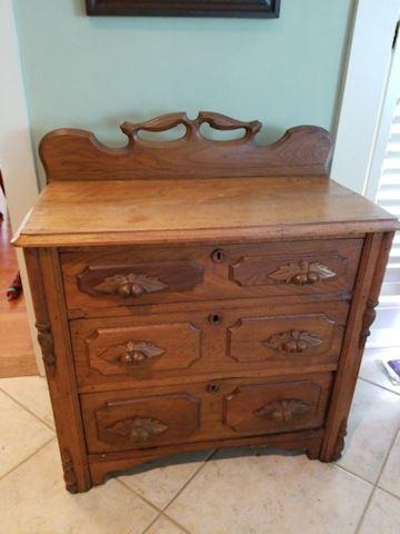 Antique three drawer chest acorn hdls