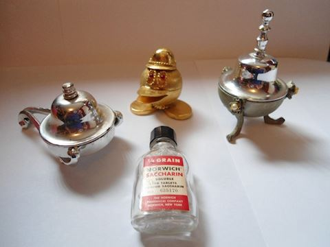 Vintage Saccharin Holders  and Bottle of Saccharin