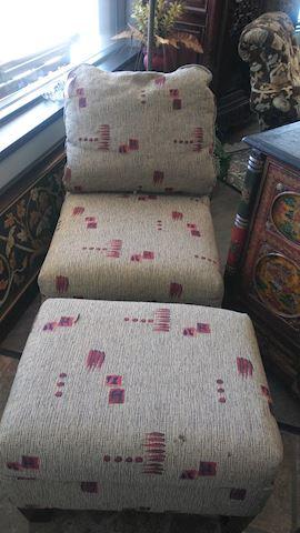Chair & Matching Ottoman - #5412