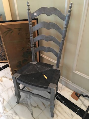 Gray Faux Finish Painted Ladderback Chair