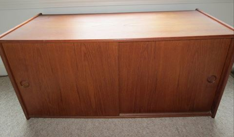 Mid Century Teak Low Sliding Door Cabinet