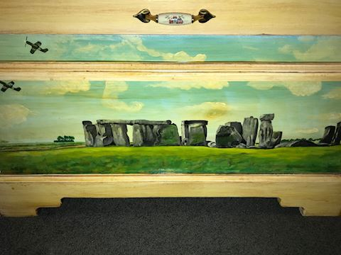 Handcrafted Vintage Trunk with Stonehenge Painting