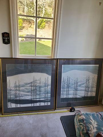 "Pair of Japanese ""trees in snow""  watercolor"