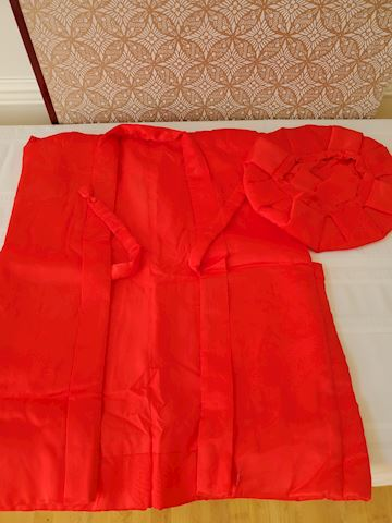 Japanese red silk quilted jacket and hat