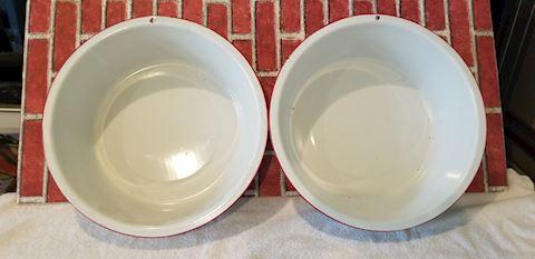 set of 2 Vintage red & white enamel wash basins