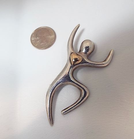 Modern Sterling Figural Brooch with Gold Heart