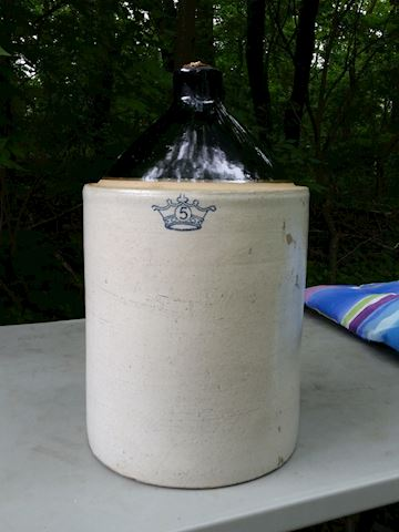 whiskey jug crock with blue crown mark 5 gallon