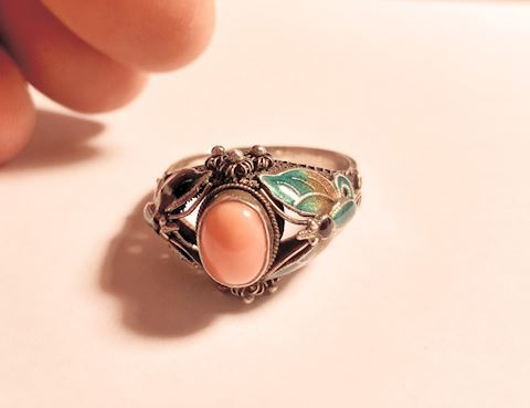 Antique Sterling Silver Rose Quartz Ring w/ Detail