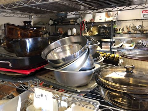 Shelf Lot Of Cookware Glassware And Metal Lot 11