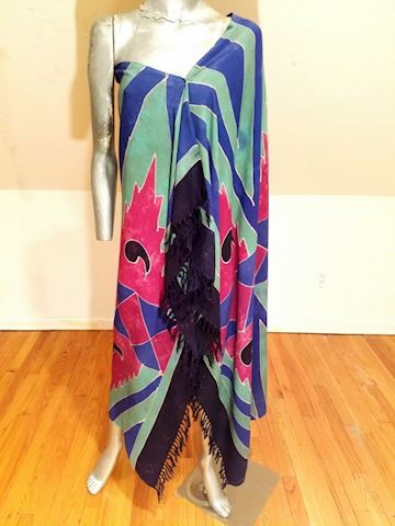 Stone Dyed rare Toga Shawl/dress w/fringes
