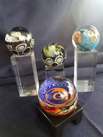 Beautiful multi-colored glass globes lot of 4