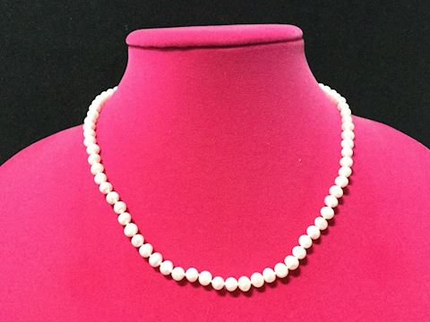 Pink Freshwater pearl necklace 10kt gold clasp90J2