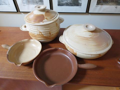 Four Large Scargo Pottery Kitchen Pieces