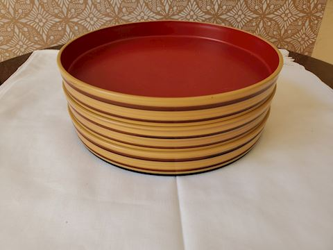 Set of 3 small red and tan lacquer trays