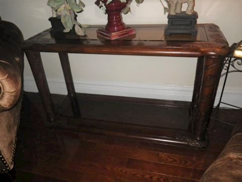 Wooden Sofa Table with Carved Accents