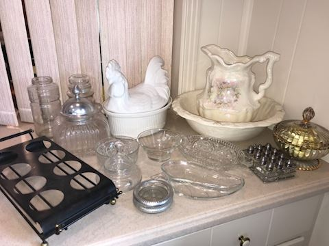 Kitchen glassware, canister, ceramics, pottery