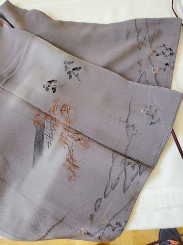 Painted grey silk with purple lining Kimono