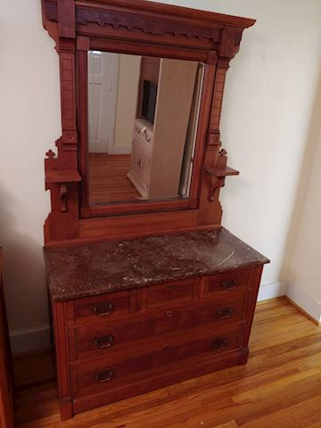 Antique Drop Center Dresser Walnut