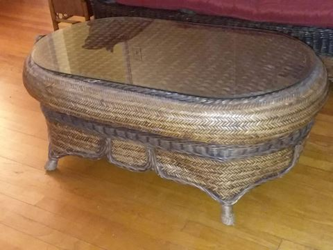 Quality Rattan Glass Top Coffee Table