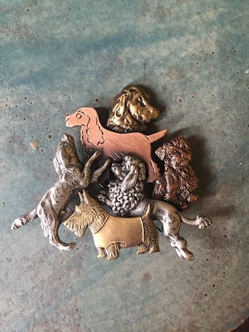 Costume Jewelry Retro Pin Brooch Dogs
