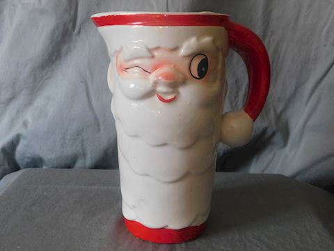 Winking Santa Pitcher with four mugs