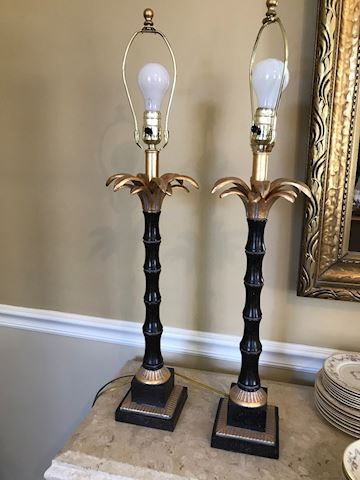 Pair of Lamps - Palms - Black and Gold