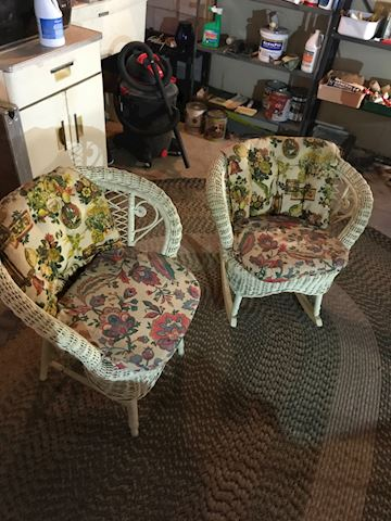 Pair of vintage wicker chairs