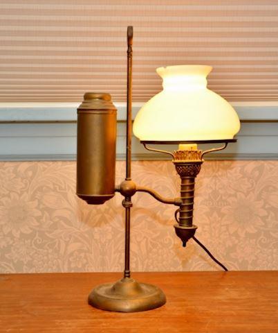 19th Century Brass Student Lamp