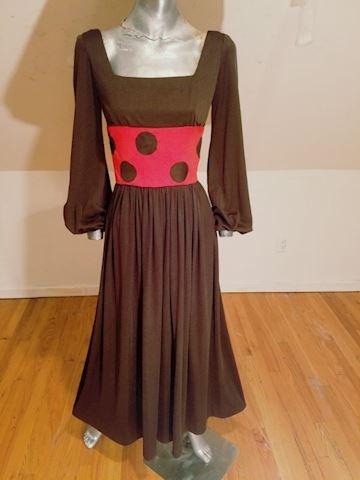 1970's Maxi Polka dot dress boho chic