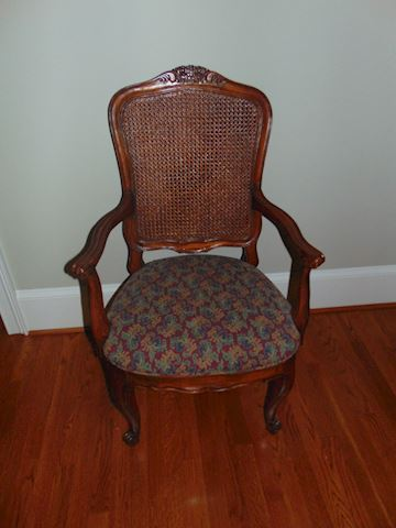 Rattan wing-back chairs