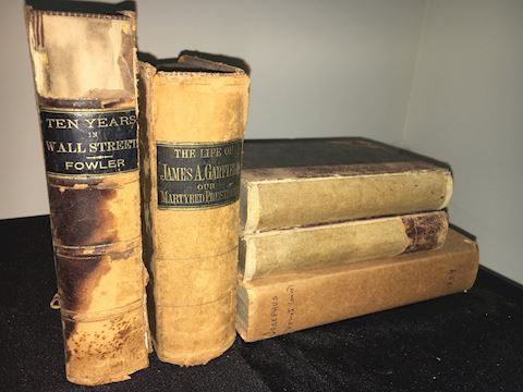 Five Leather Antique books