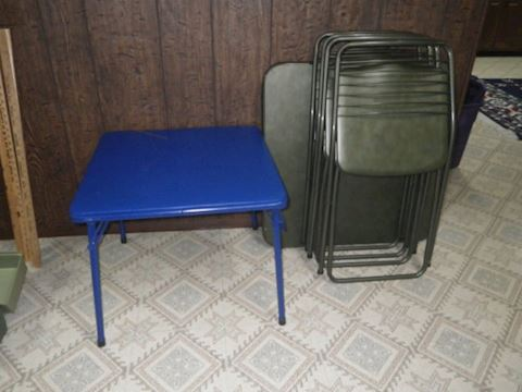 Vintage Table with 4 Folding Chairs