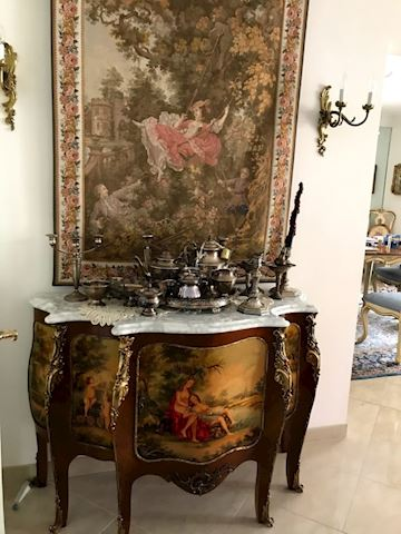 French Louis XV V Martin Style Commode Marble Top