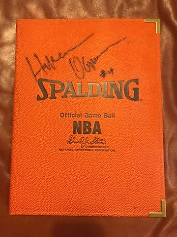 Notebook signed by Hakeem Olajuwon