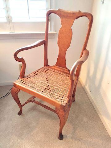 Chair Oak Wood Wicker Seat