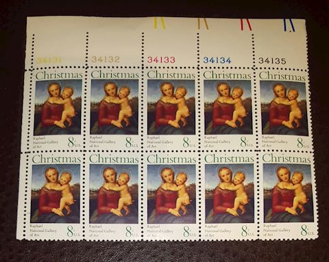 Vintage 1973 Plate Block of 10-8¢ Christmas Stamps