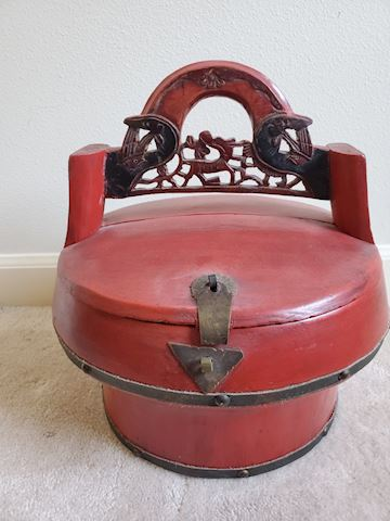 Asian Wood round red hand carved box with handle