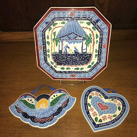 3-piece Lot Vintage J. Duban Designs Tiles