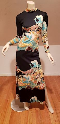 Vtg Cheongsam inspired maxi dress circa 1960