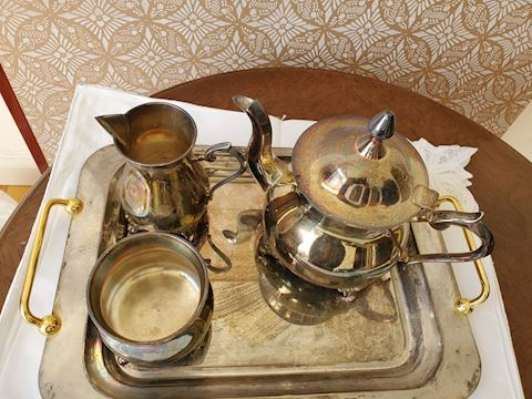 Silver plate tea set with tray