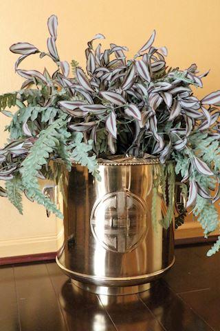 Solid Brass Oriental Planter wtih Greenery