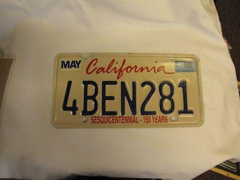 "California ""Ben"" license Plate"