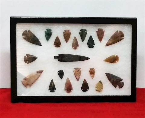 Arrowheads-Hand Made- In Display Case