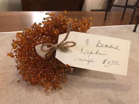 Amber beaded napkin rings